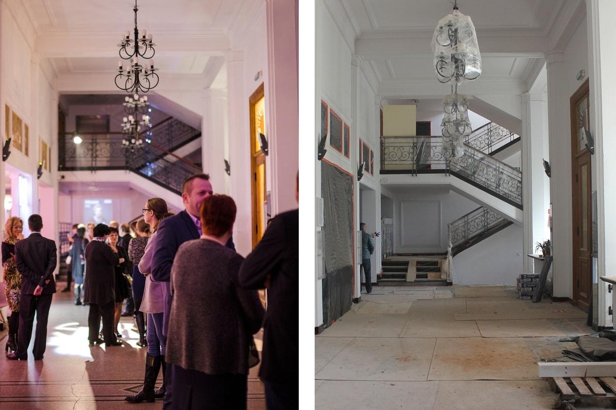 dwa zdjęcia holu - przed remontem i podczas prac