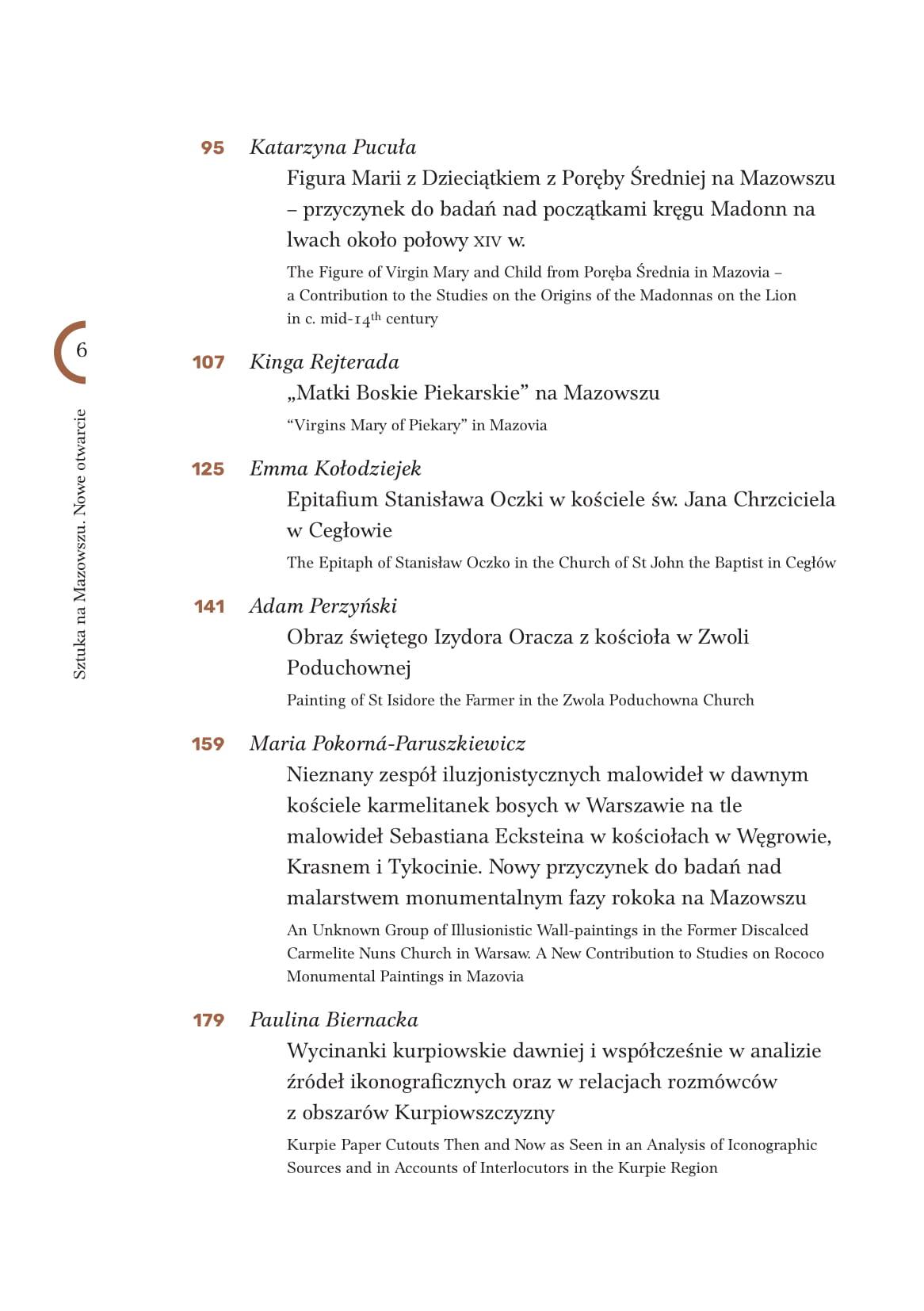 Publikacja pokonferencyjna spis treści