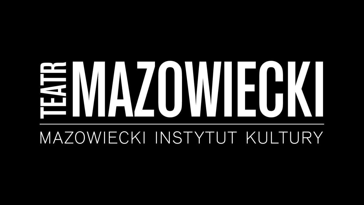 czarne pole z białym napisem teatr mazowiecki, mazowiecki instytut kultury