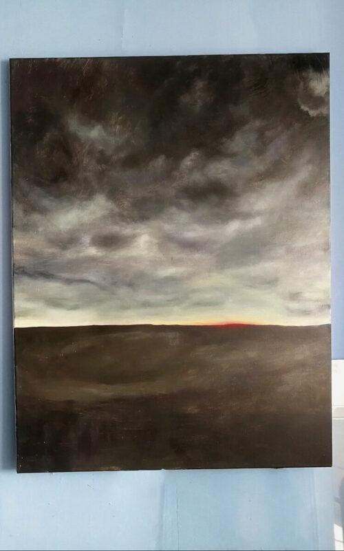 praca nikodema rosińskiego, pejzaż, ciemne kolory, zachmurzone niebo