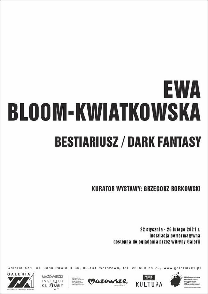 biały afisz z czarnym napisem ewa bloom kwiatkowska bestiariusz dark fantasy