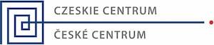 niebieski znak na białym tle z napisem Czeskie Centrum