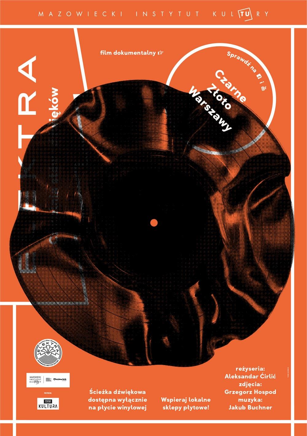 plakat: na pomarańczowym tle pognieciona płyta winylowa
