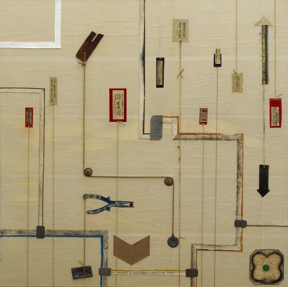 kompozycja abstrakcyjna: linie proste, załamujące się pod kontem prostym, na kremowym tle