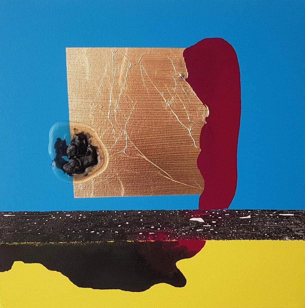 obraz abstrakcyjny: barwne plamy żółta, niebieska, brązowa i inne