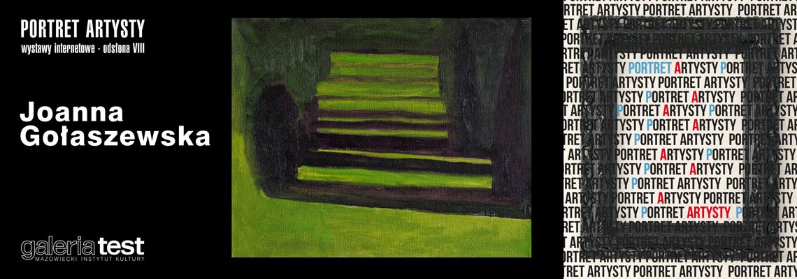grafika: fragment obrazu przedstawiający drzewa rzucające cienie. napis portret artysty