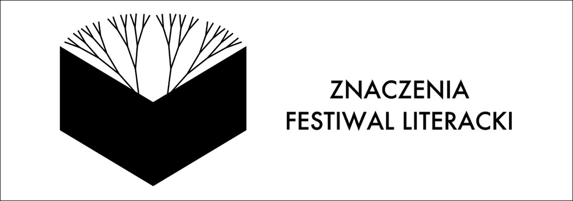 grafika: biała plansza z czarnym rysunkiem książki z której wyrastają gałęzie drzewa napis festiwal literacki znaczenia
