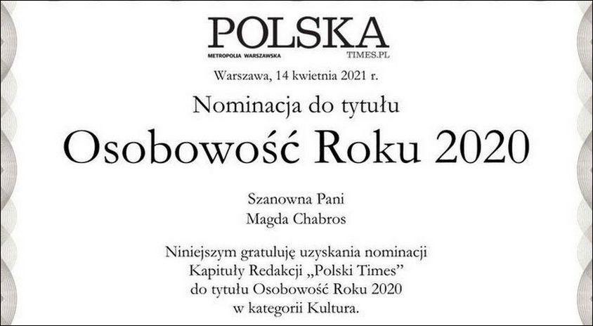 """Magdalena Chabros z MIK nominowana do nagrody Osobowość Roku 2020 – w plebiscycie dziennika """"Polska The Times"""". Zapraszamy do głosowania na naszą koleżankę!"""