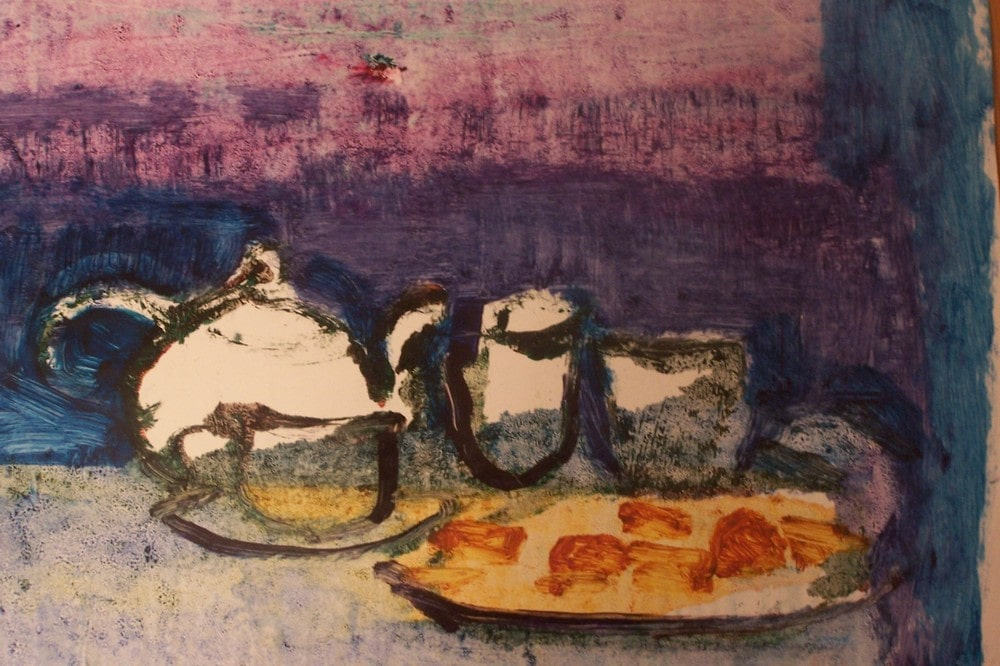 obraz: martwa natura, taca z ciastkami, czajnik, kubki
