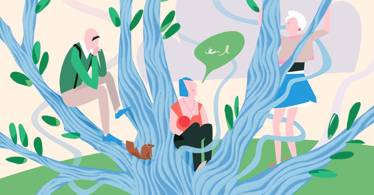 grafika: trzy osoby siedzące pod drzewem, jedna opowiada, dwie słuchają