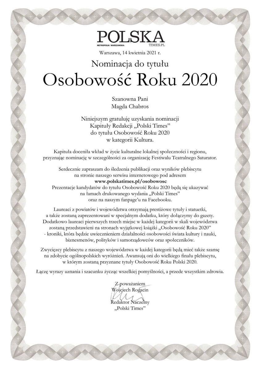 grafika: dyplom z tekstem: magdalena chabros nominacja do tytułu osobowość roku 2020