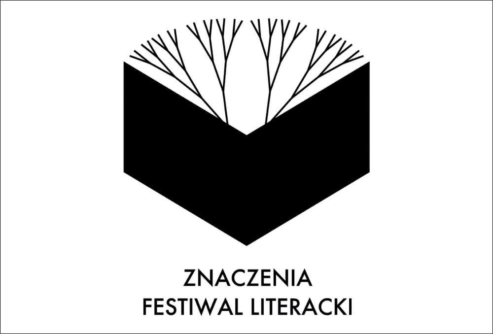 grafika: biała plansza z czarnym rysunkiem książki z której wyrastają gałęzie drzewa, napis znaczenia festiwal literacki