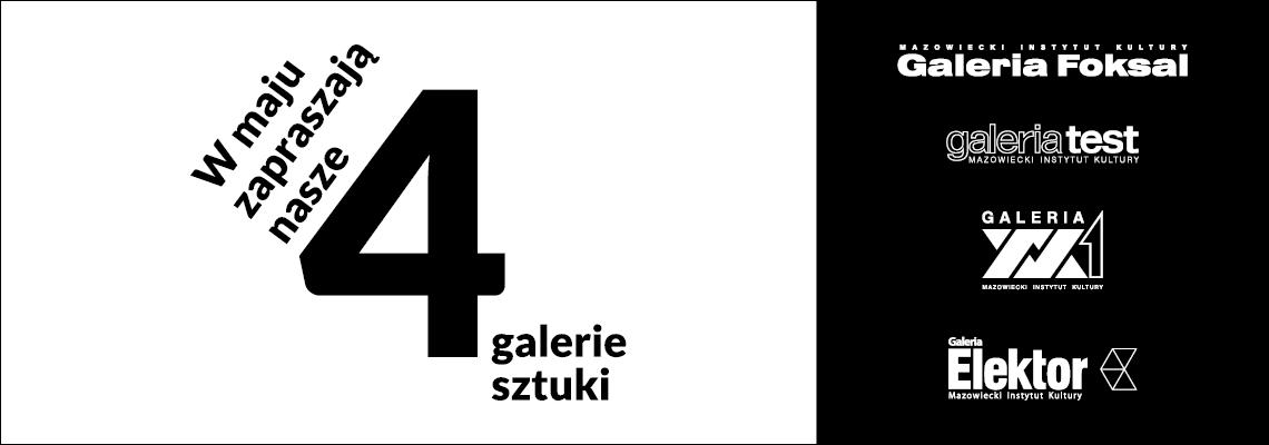 grafika: logotypy galerii sztuki i napis w maju zapraszają nasze 4 galerie sztuki