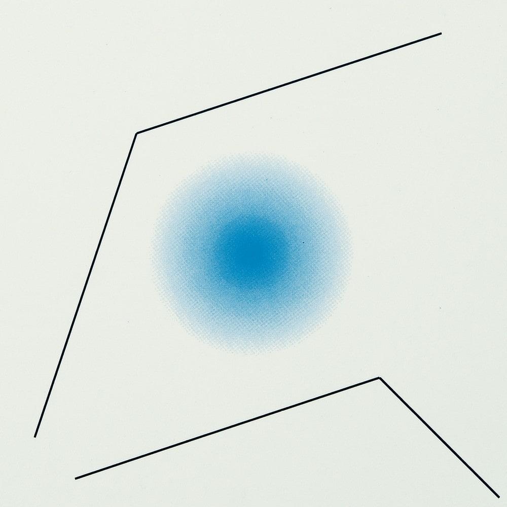 grafika, abstrakcja: na kremowym tle dwie łamane proste i niebieski krąg w środku