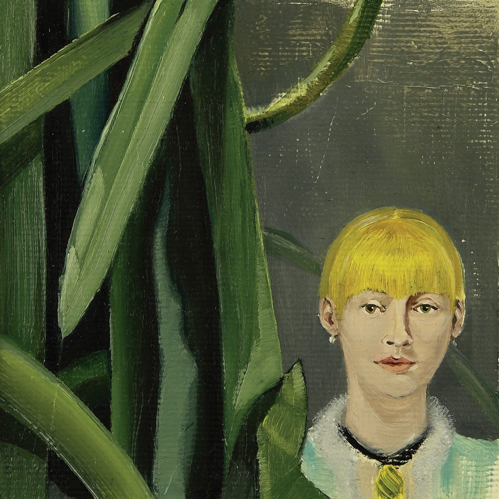 grafika: głowa kobiety wśród liści