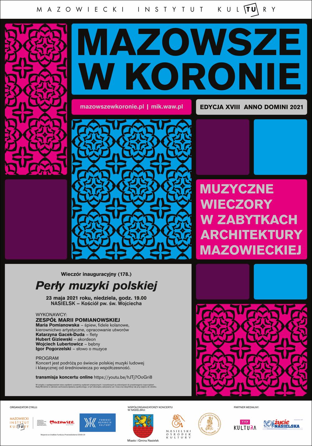 plakat, grafika: niebieskie i bordowe prostokąty i napis 23 maja, Nasielsk Zespół Marii Pomianowskiej Perły muzyki polskiej – Mazowsze w Koronie
