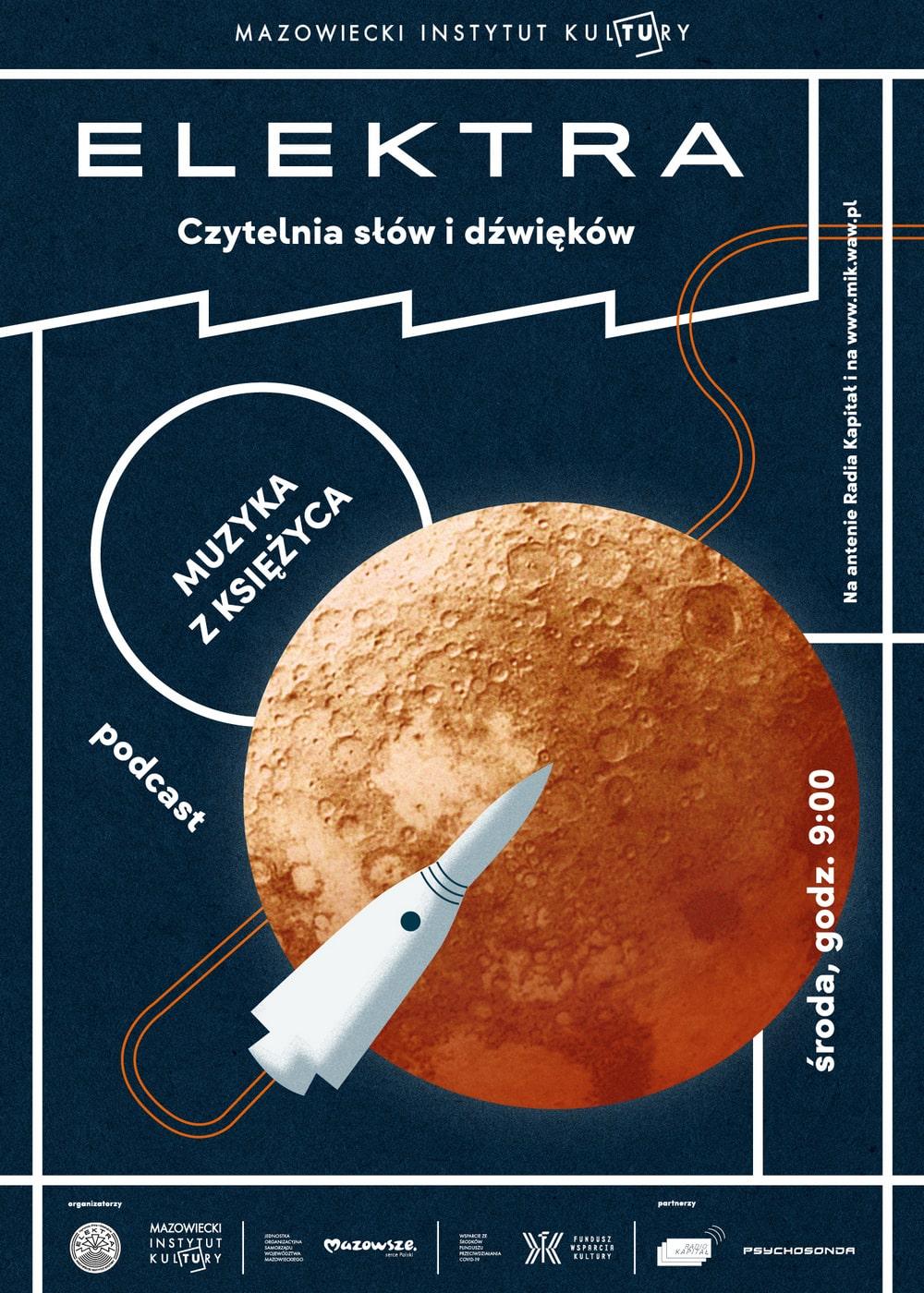 grafika: na ciemnym tle rysunek księżyca i rakiety kosmicznej. napis muzyka z księżyca