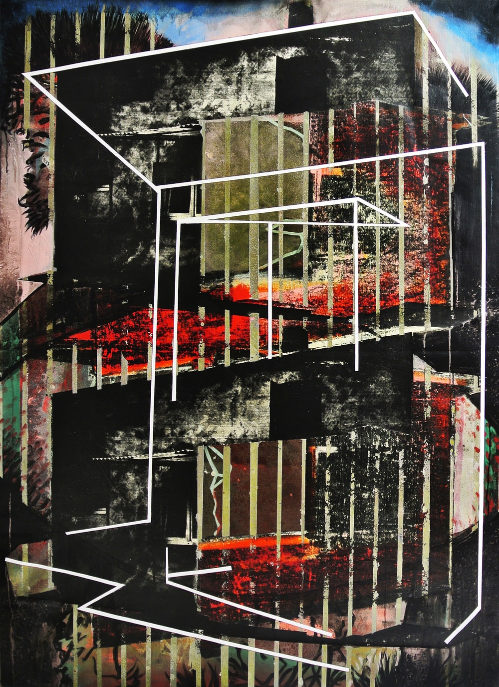 reprodukcja obrazu: kompozycja wielobarwna, abstrakcja.  Z wystawy Paweł Łyjak Wciąga mnie Nic, Galeria XX1