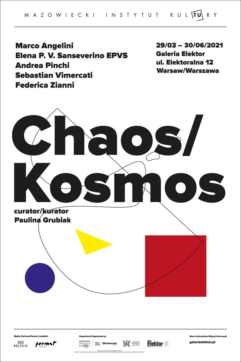 biała plansza z czarnym napisem Chaos/Kosmos