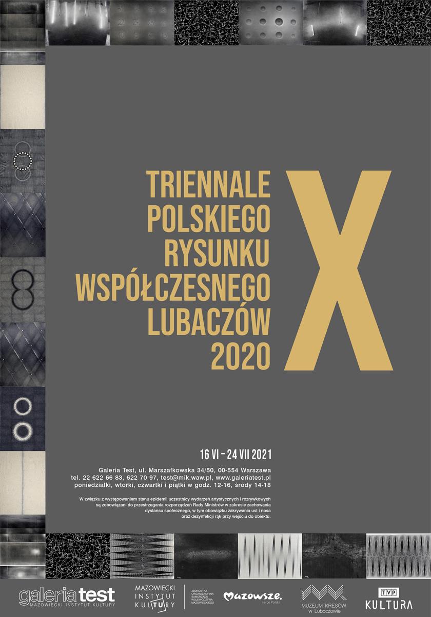 grafika: szara plansza z napisem dziesiąte triennale polskiego rysunku współczesnego