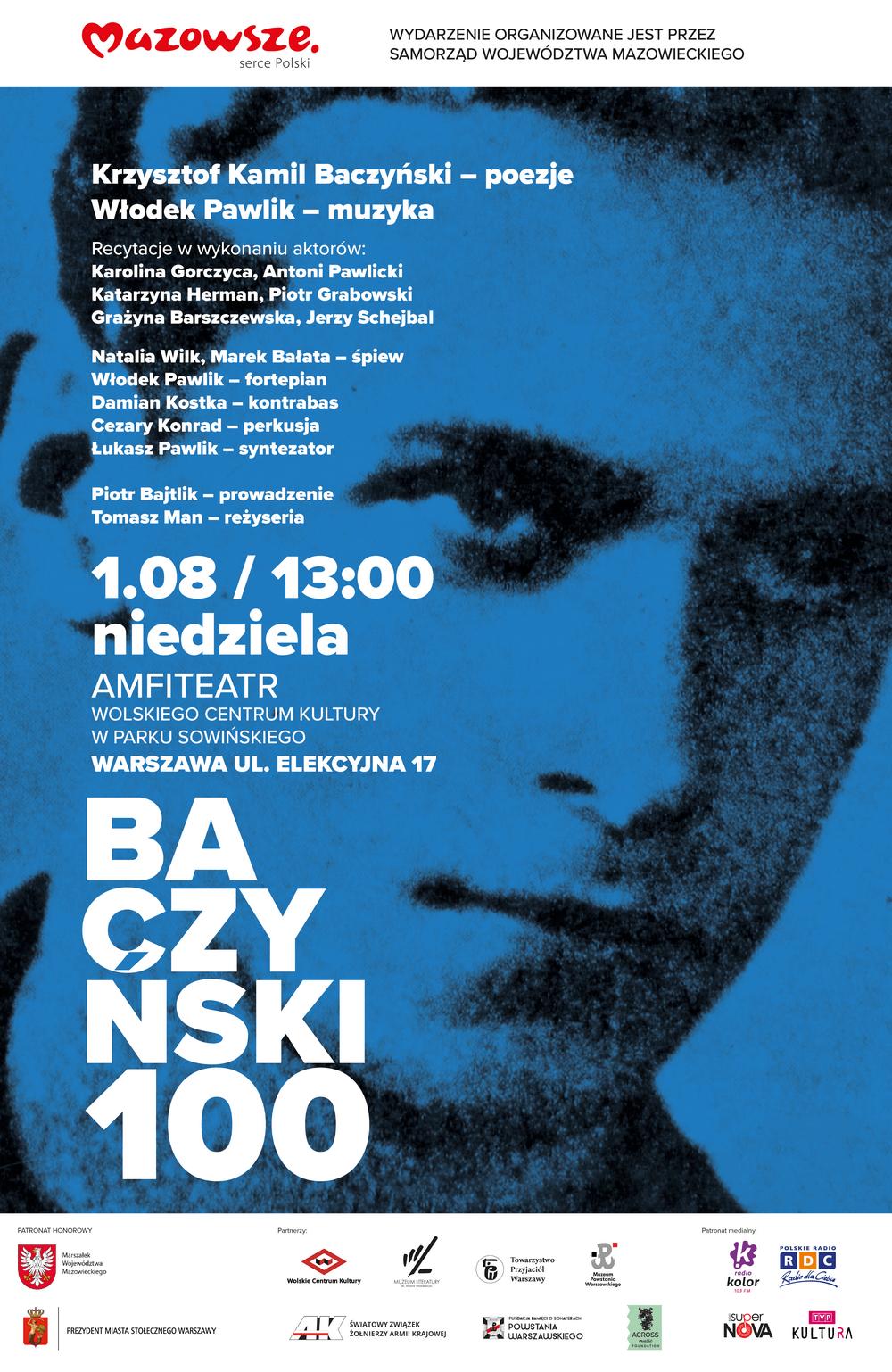 plakat: na niebieskim tle powiększona twarz kamila baczynskiego i napis baczyński 100