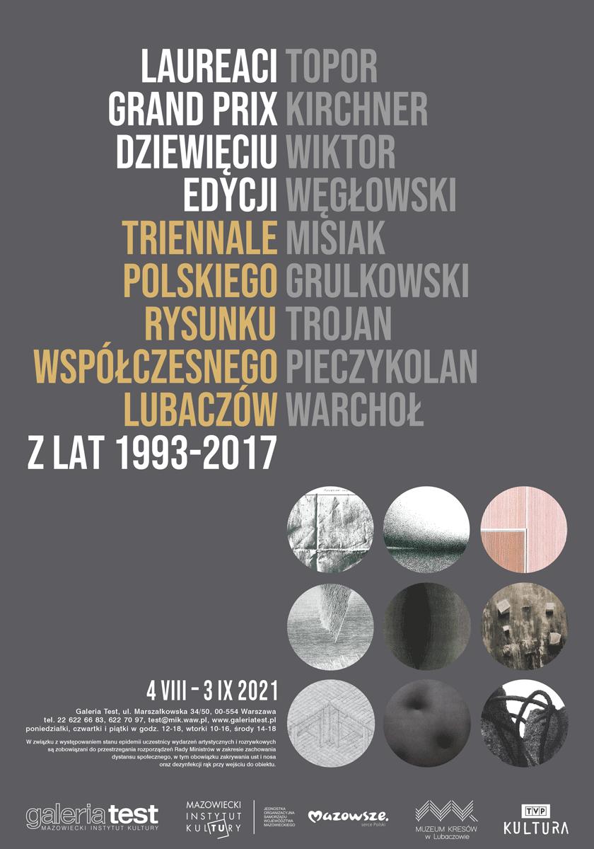 plakat wystawy: na szarym tle kółka z fragmentami prac i napis Dziewięć edycji triennale polskiego rysunku