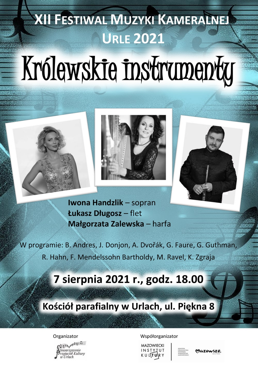plakat: zdjęcia wykonawców oraz napis festiwal muzyki kameralnej w urlach