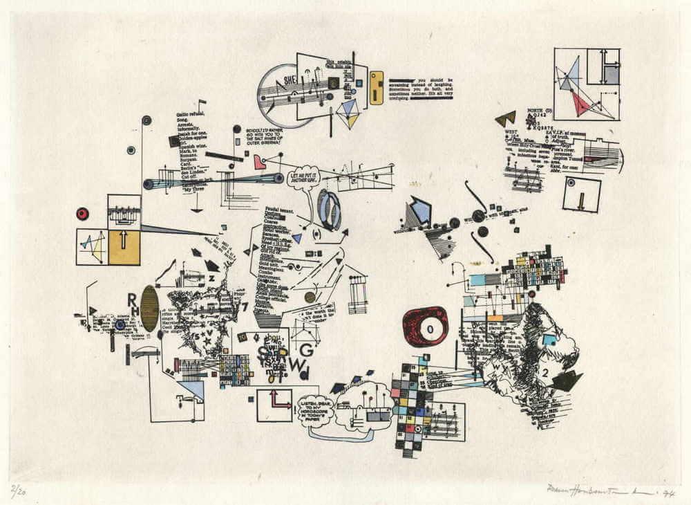 Zdjęcie przedstawia kolorowe rysunki na papierze. Są to geometryczne formy i zapiski, w tym drukowane i odręczne notatki