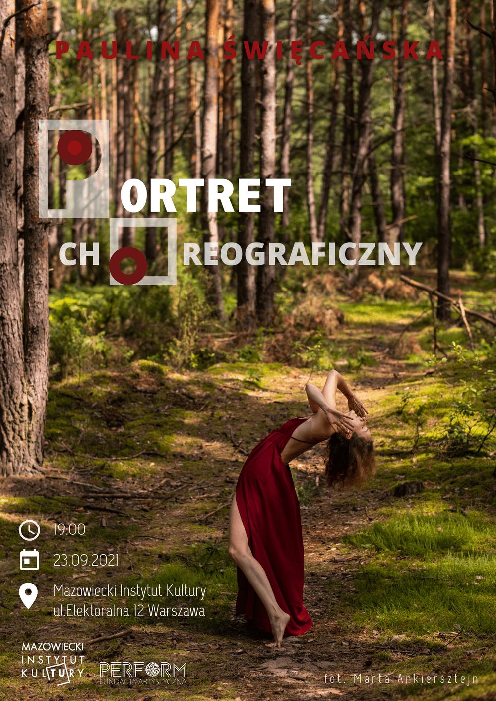 fotografia: Paulina Święcańska w czerwonej sukni na leśnej drodze, ekspresyjnie wygięta do tyłu