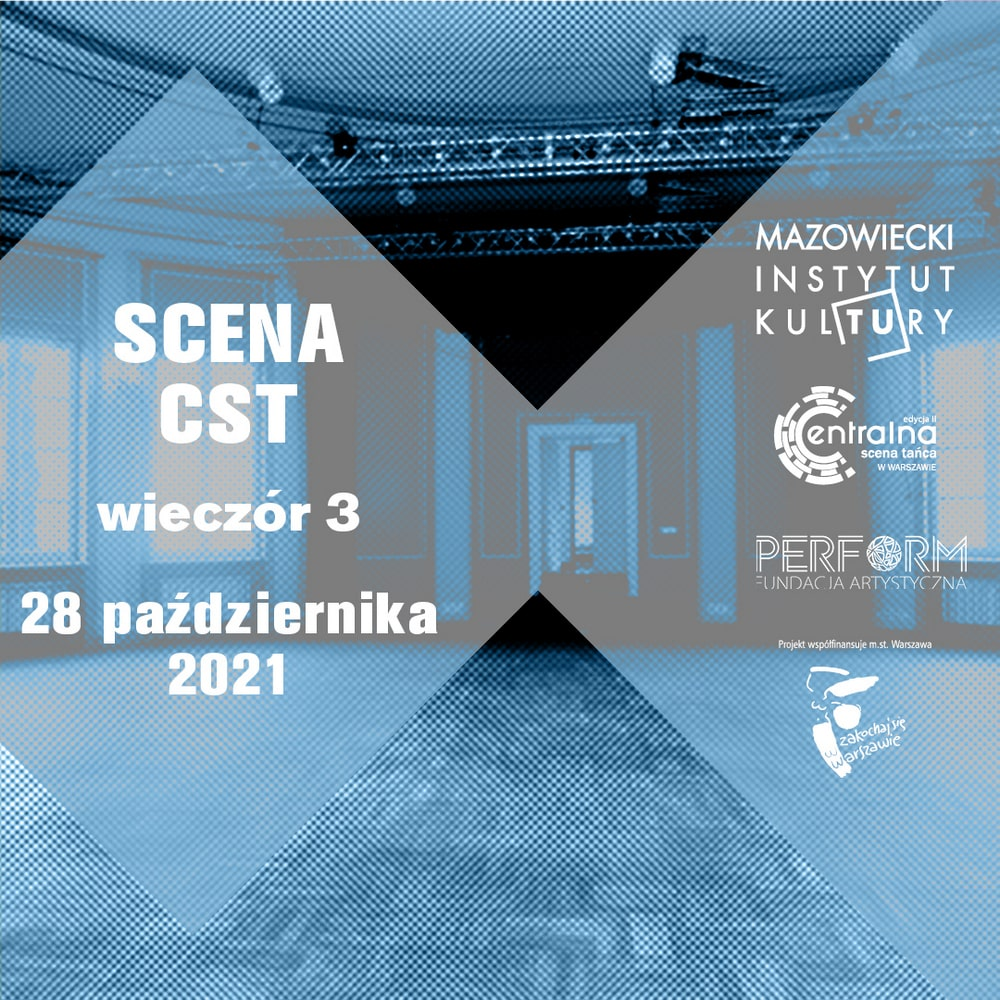 grafika: na tle fotografii w kolorze sino niebieskim przedstawiające salę teatralną umieszczono napis Scena cst wieczór 3