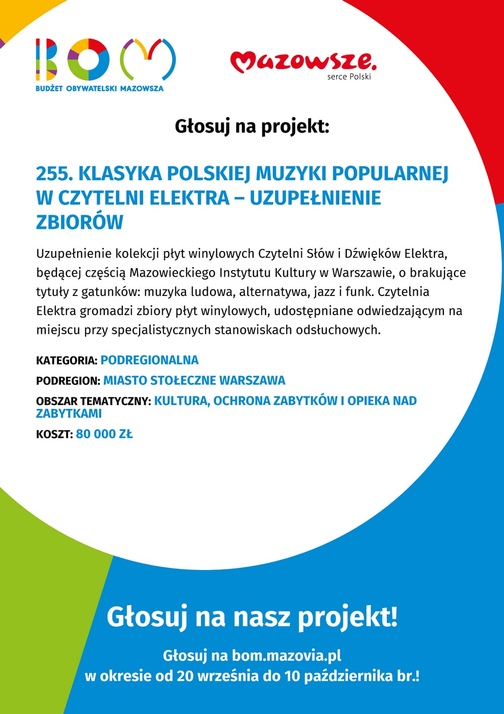 plakat z napisem budżet obywatelski mazowsza