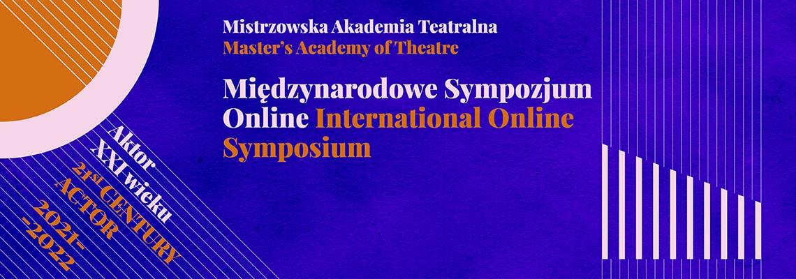 grafika na niebieskim tle napis międzynarodowe sympozjum on line