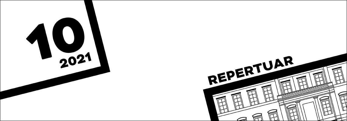grafika czarno biała napis repertuar