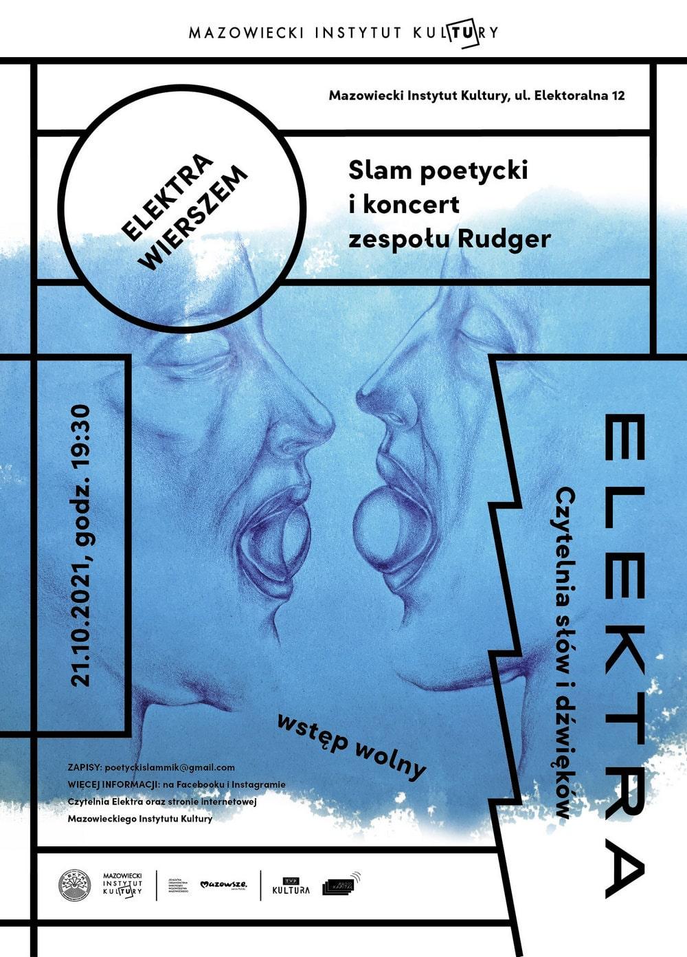 grafika: plakat, na niebieskim tle przedstawiającym profile ludzkich postaci napis slam poetycki